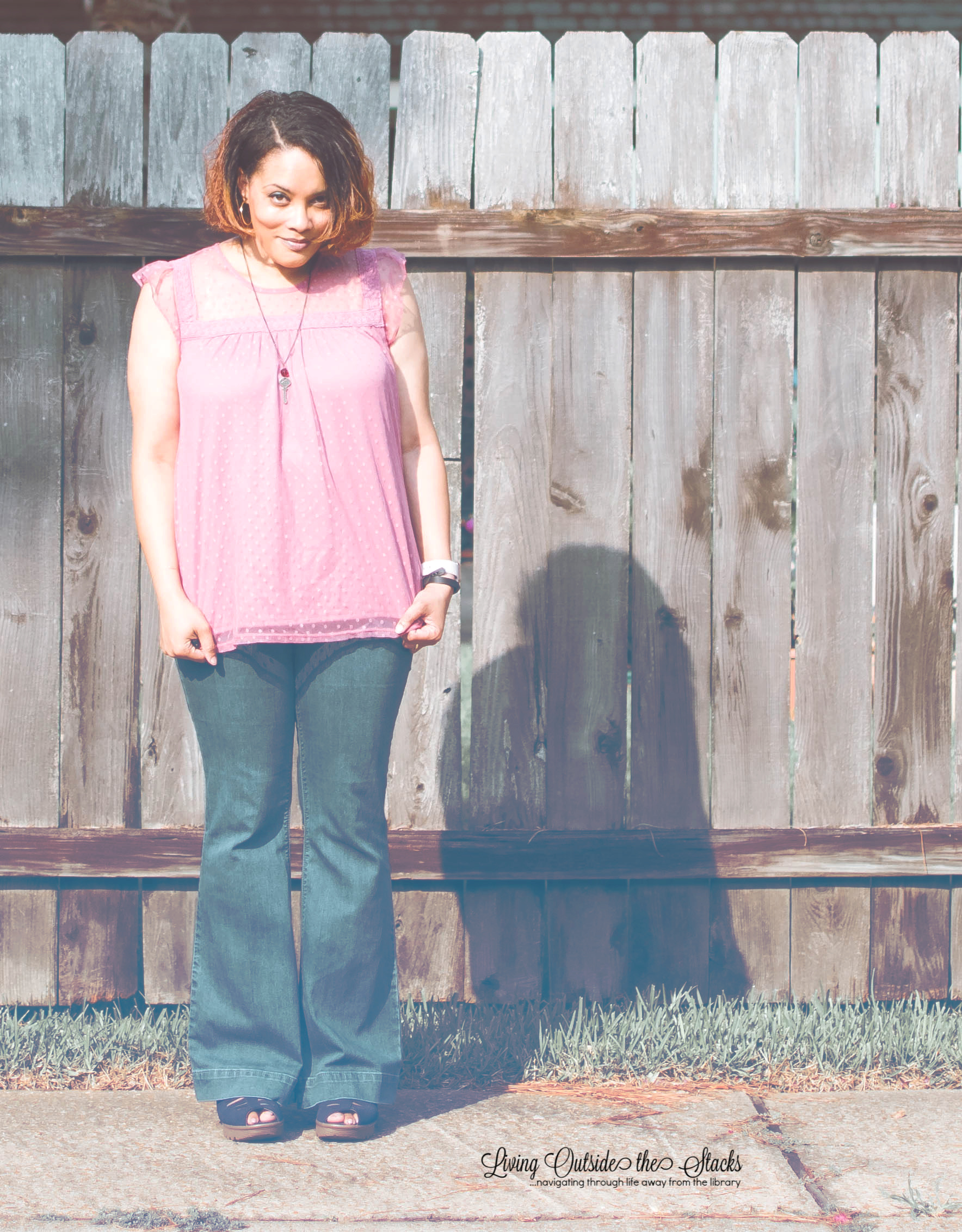 Pink Swiss Dot Baby Doll Top Laurie Felt Silky Curve Flare Leg Jeans and Blue Sketchers Sandals {living outside the stacks}