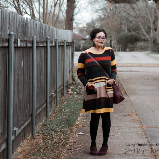 Striped Sweater Dress Black Tights Oxfords {living outside the stacks} Daenel T