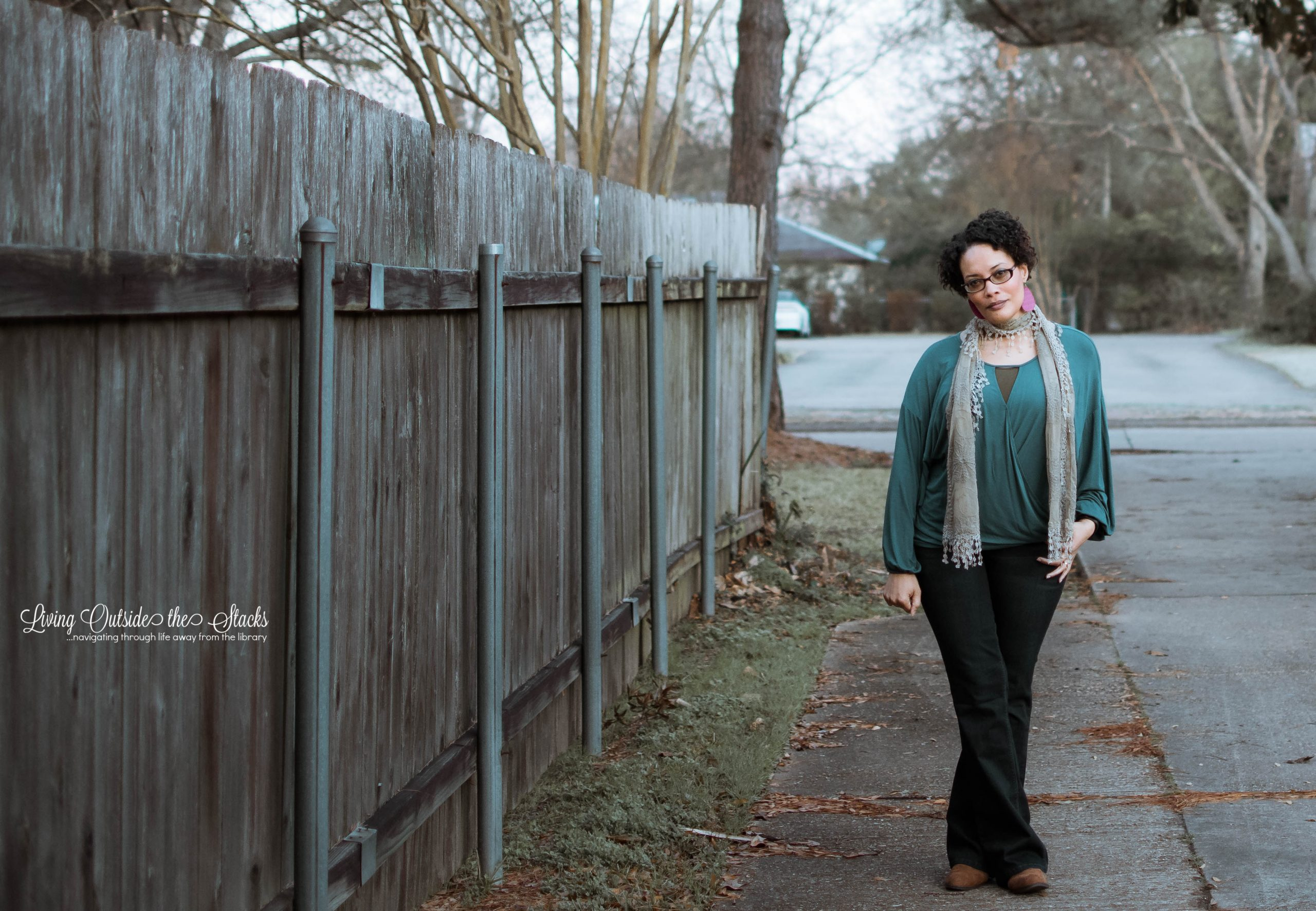 Taupe Scarf Teal Top Olive Tank Indigo Bootcut Jeans and Brown Ankle Boots {living outside the stacks}
