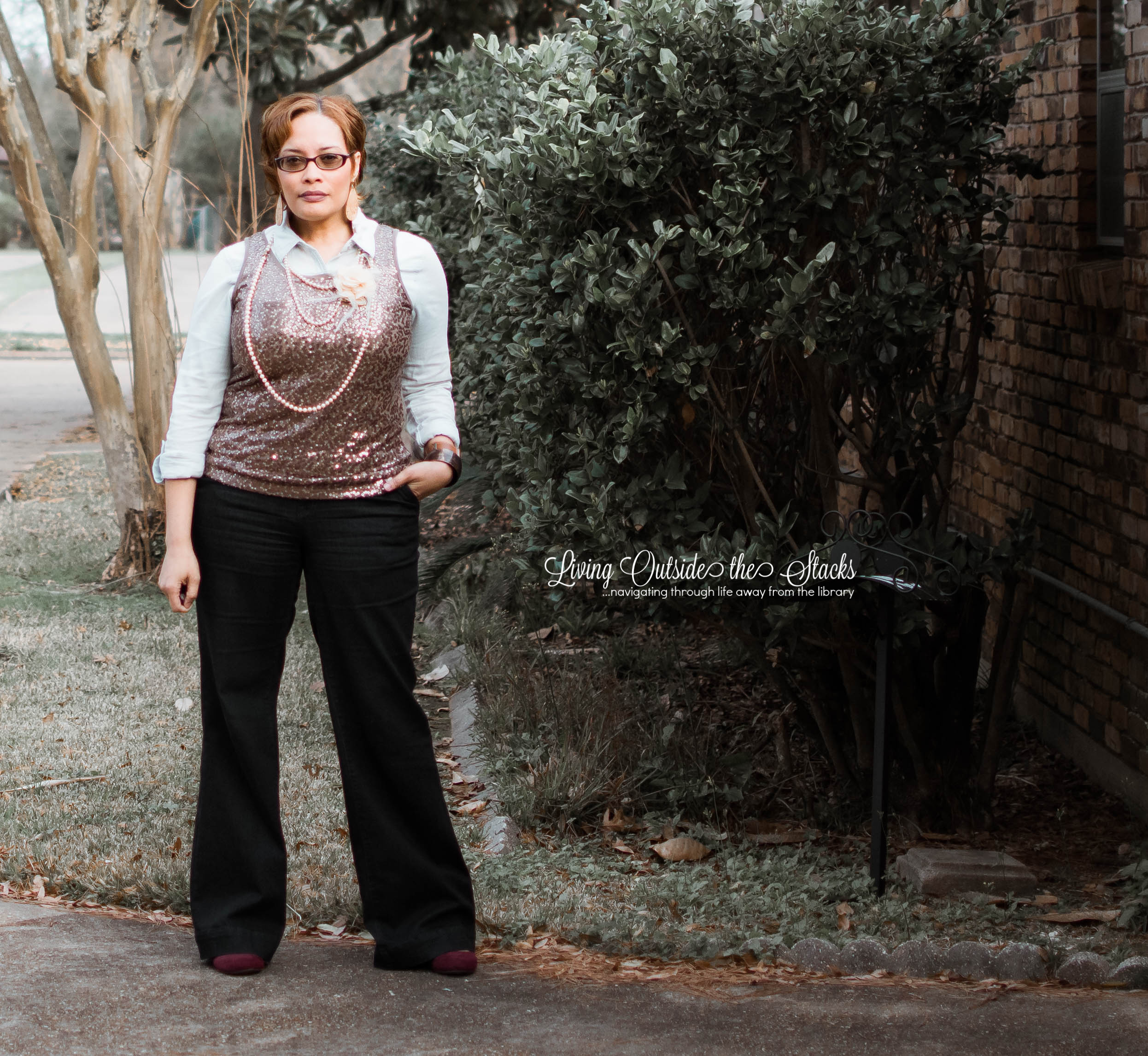Chambray Shirt Sequin Tank Trouser Jeans and Wine Wedg {living outside the stacks}