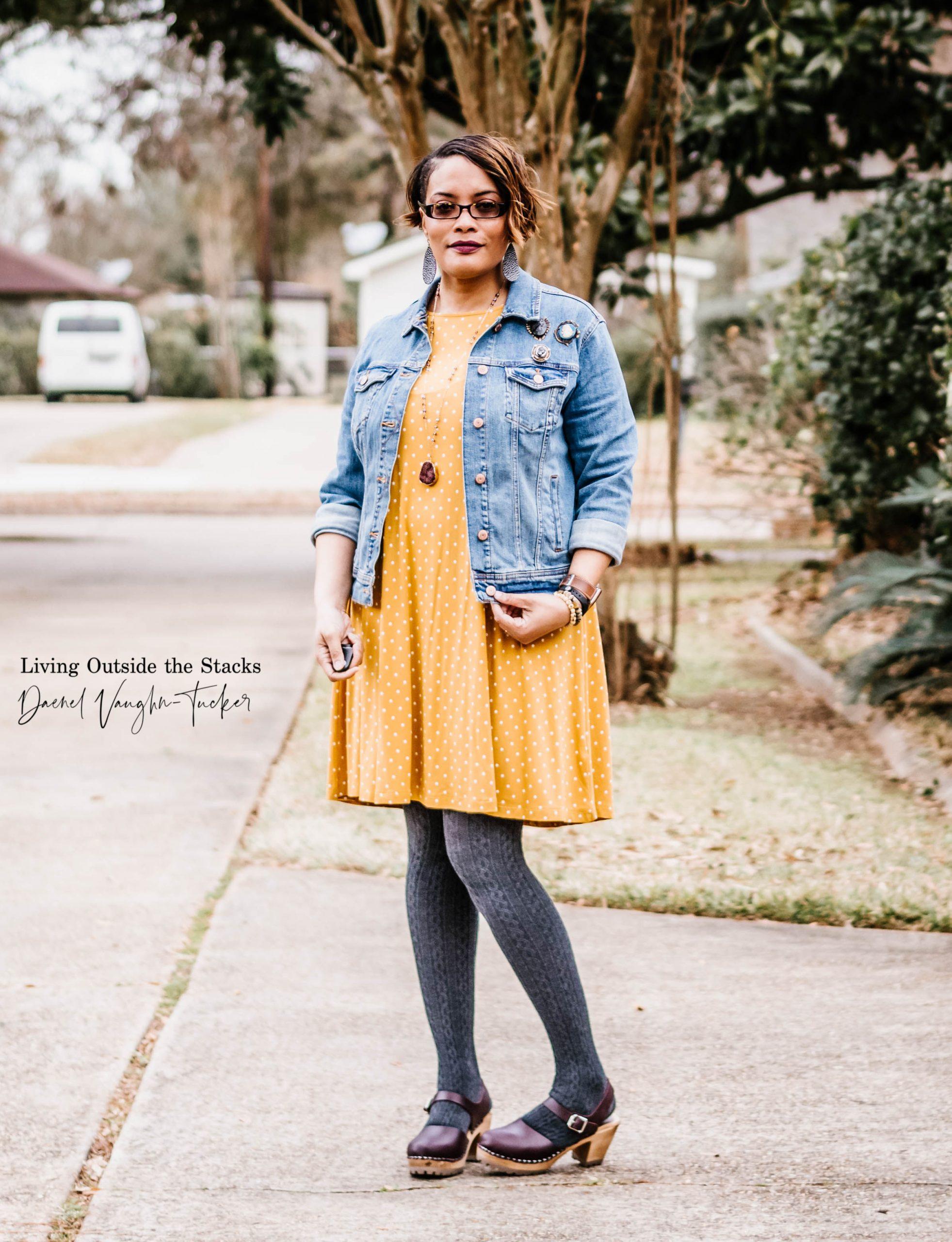 Denim Jacket Polka Dot Dress Gray Tights Clogs {living outside the stacks}