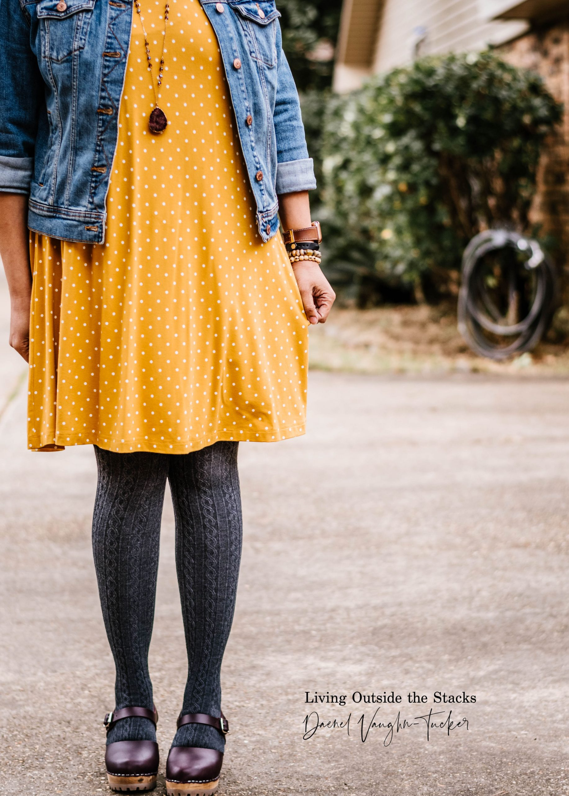 Denim Jacket Polka Dot Dress Gray Tights Clogs {living outside the stacks}
