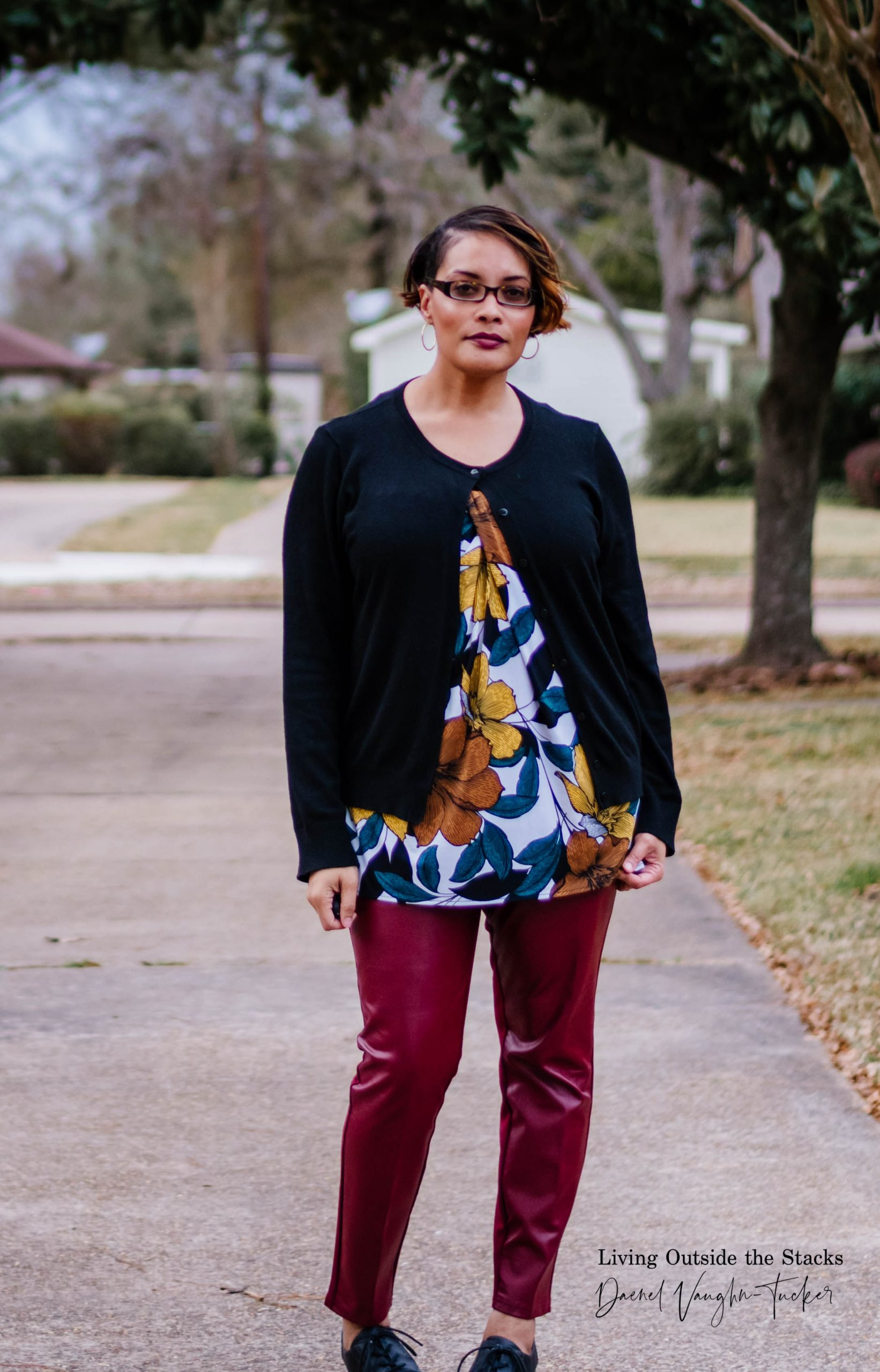 Black Cardi Leaf Print Top Wine Faux Leather Pants {living outside the stacks}
