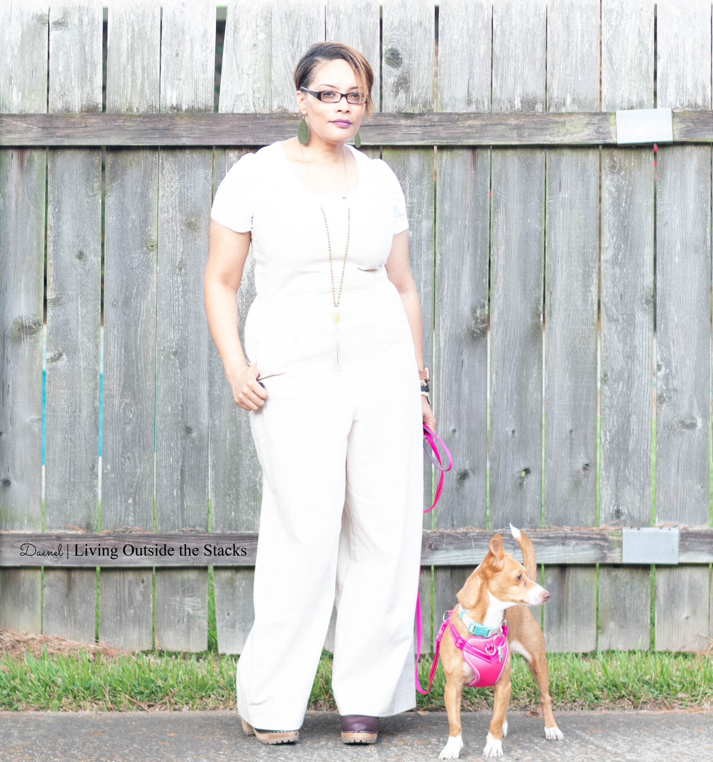 White Tee Khaki Jumpsuit and Wine MIA Clogs {living outside the stacks} Style Imitating Art