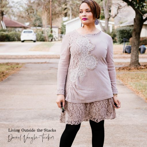 Tea Stain Lace Tunic Dress Black Leggings and Gray Boots {living outside the stacks}