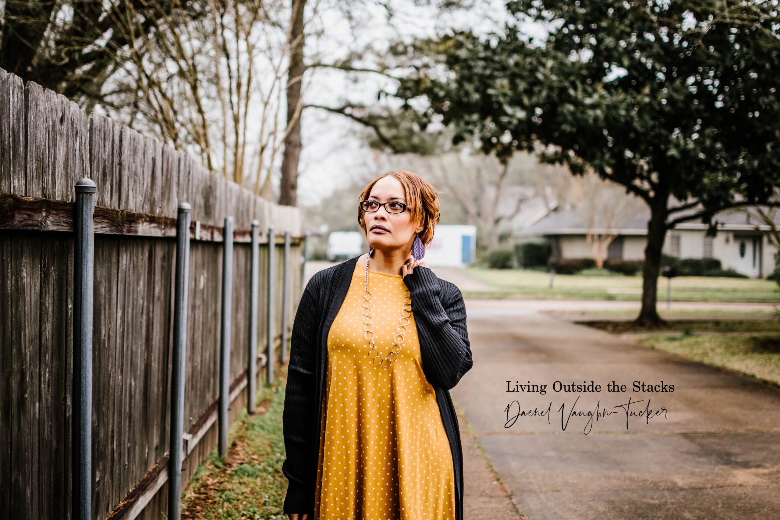 Black Cardigan Polka Dot Mustard Dress {living outside the stacks