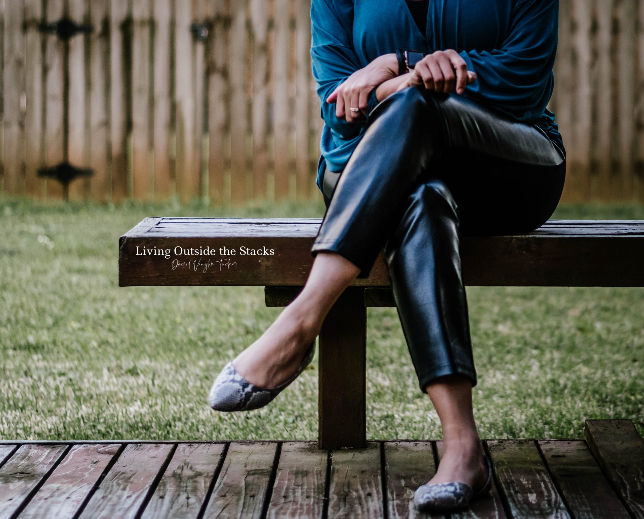 Teal Crisscross Top Black Faux Leather Pants and Snake Print Flats {living outside the stacks}