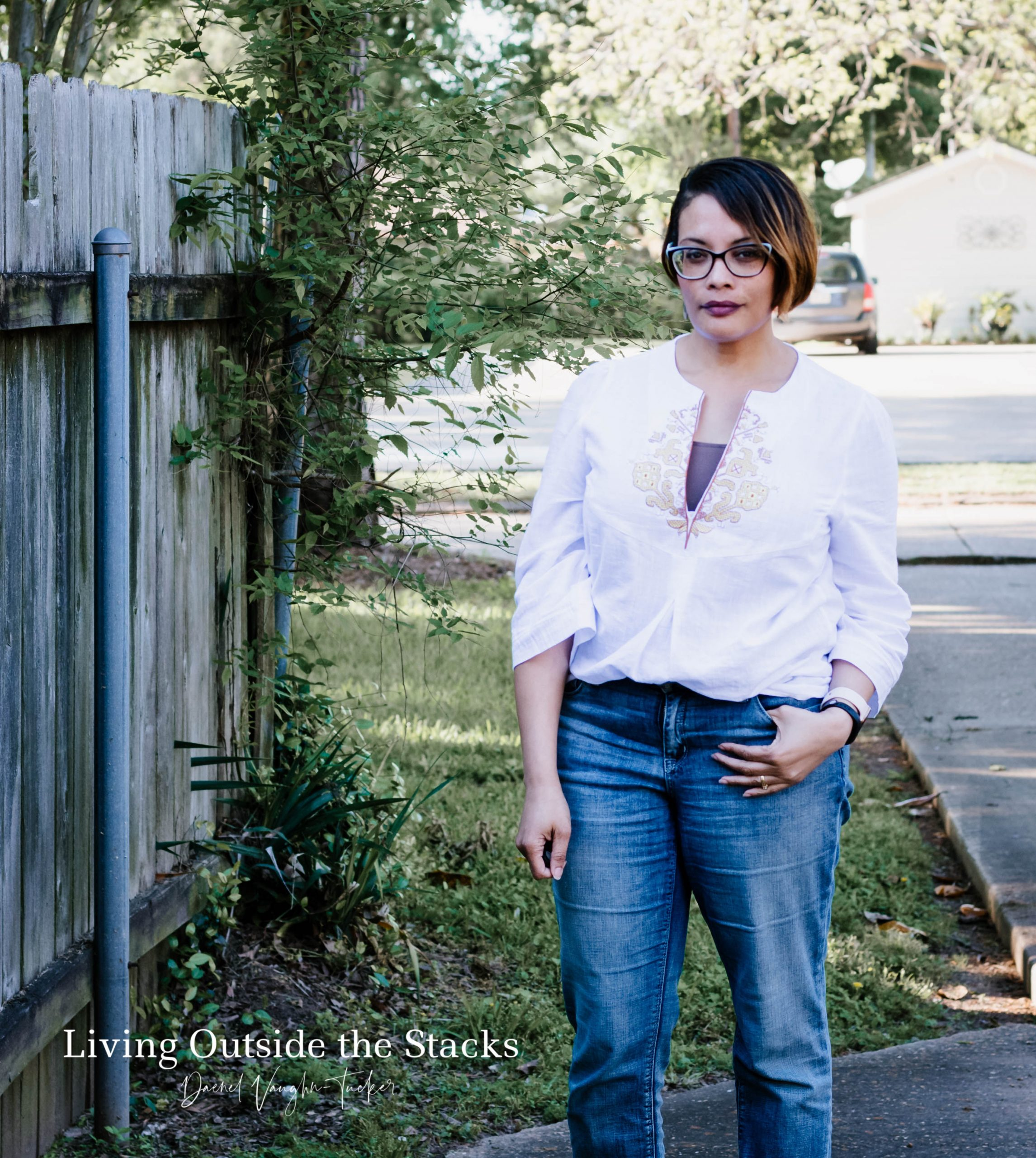 White Embroidered Top Laurie Felt Boyfriend Jeans and Clogs {living outside the stacks}