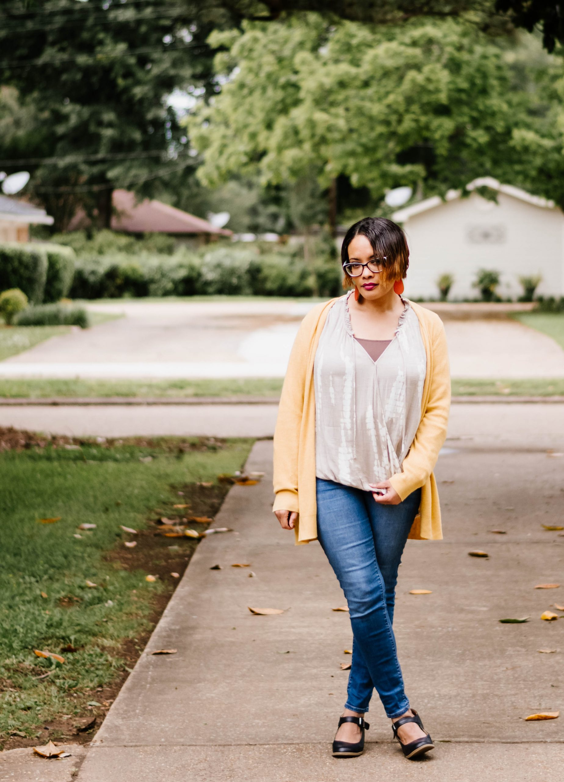 Yellow Cardi Taupe Wrap Top Jeggings and Mary Janes {living outside the stacks}