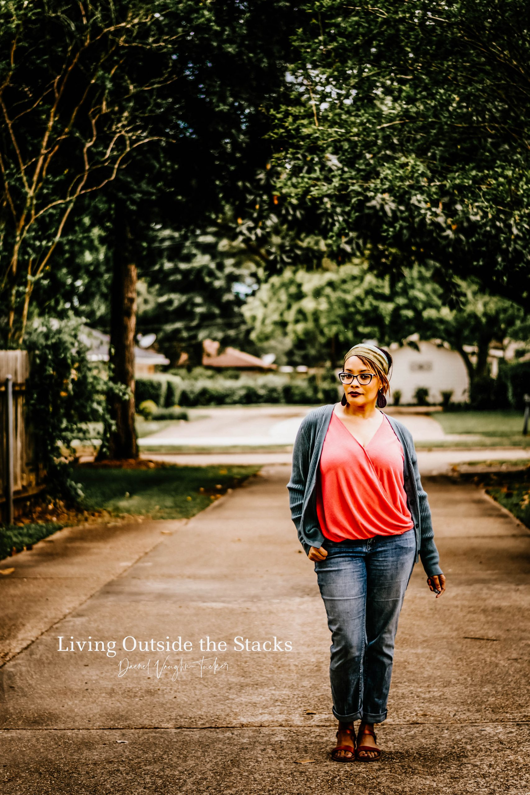 Gray Sweater Coral Top and Jeans {living outside the stacks}