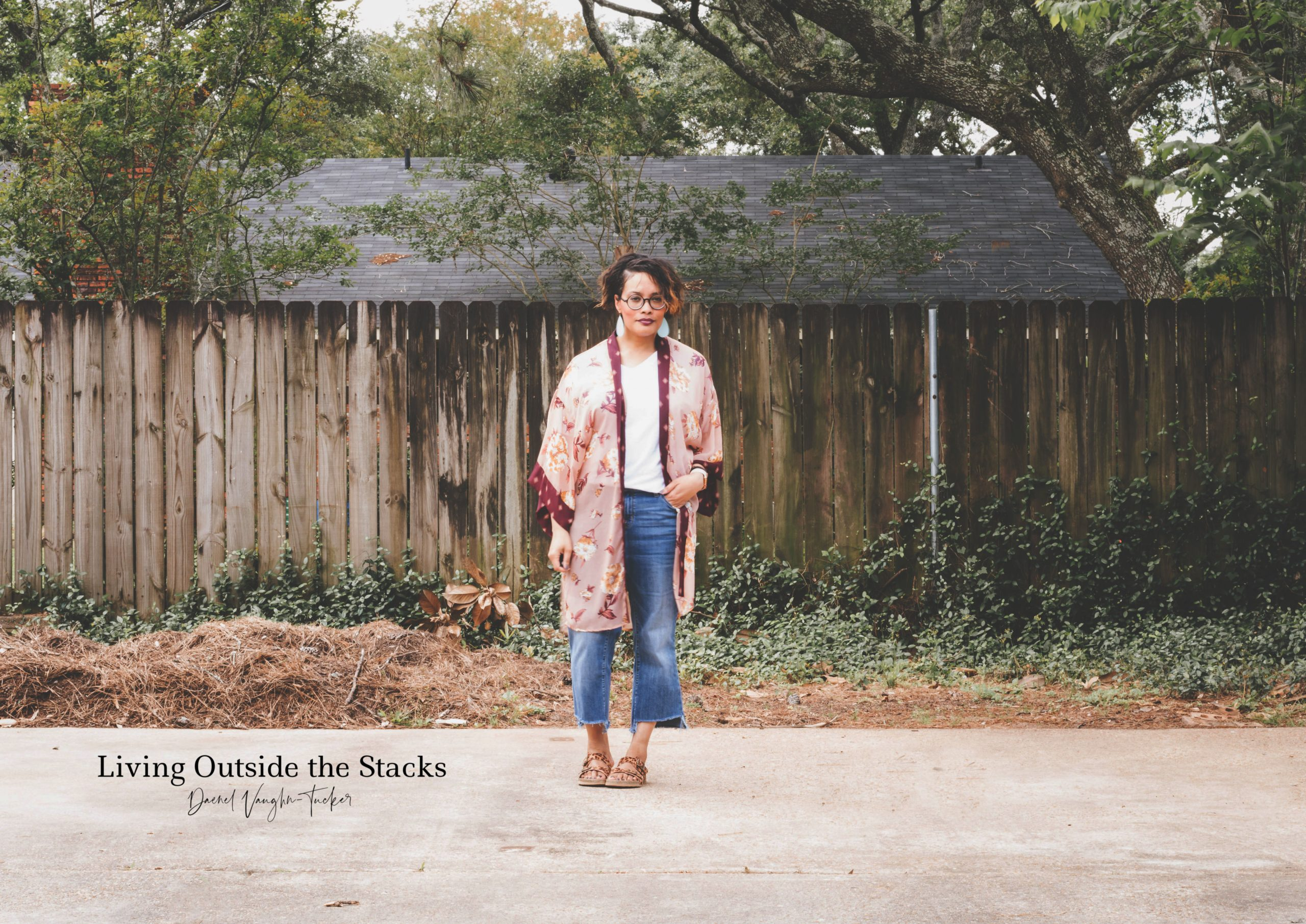 Kimono White Tee Jeans and Sandals {living outside the stacks}