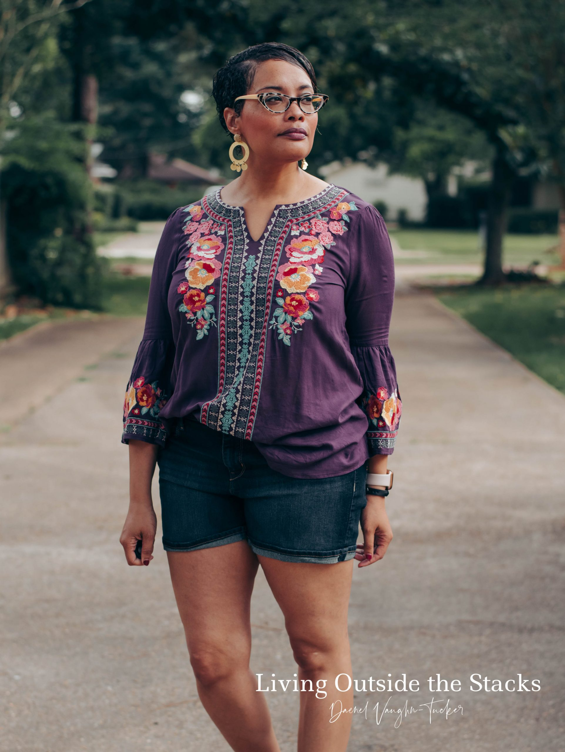 Purple Embroidered Top Denim Shorts and Animal Print Slides {living outside the stacks}