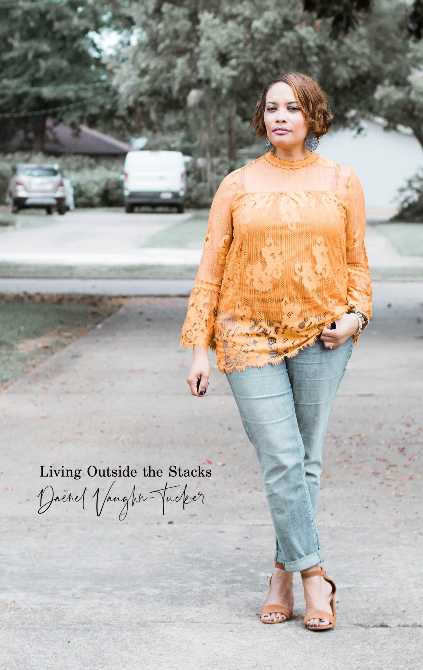 Gold Lace Top and Jeans {living outside the stacks}