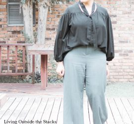 Black Blouse Grey Slacks Burgundy Shoes {living outside the stacks}