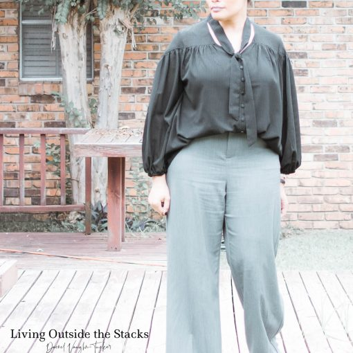 Black Blouse Grey Slacks Burgundy Shoes {living outside the stacks}