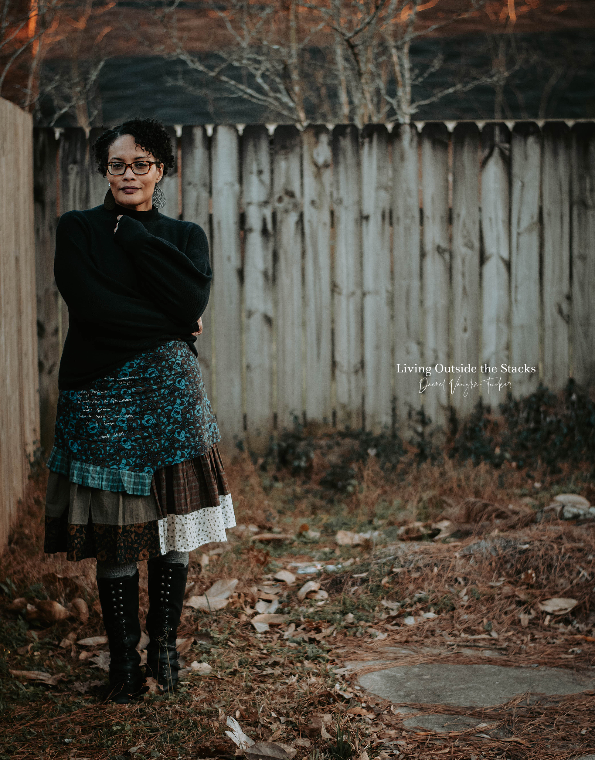 Black Turtleneck Ian Mosh Skirt and Black Boots {living outside the stacks} Daenel T